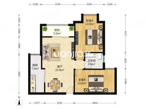 保利椰风半岛 两室两厅带装修 带家具家电 采光充足,通透性好