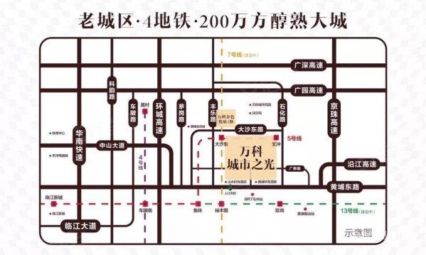 万科城市之光 老黄埔小户型公寓 四地铁环绕 三大商圈