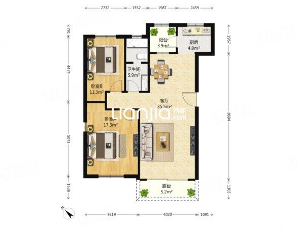 红星海世界观郡墅二号 2室2厅 103平