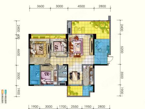 光明城市h户型,光明城市3室2厅1卫约115.76平米户型图