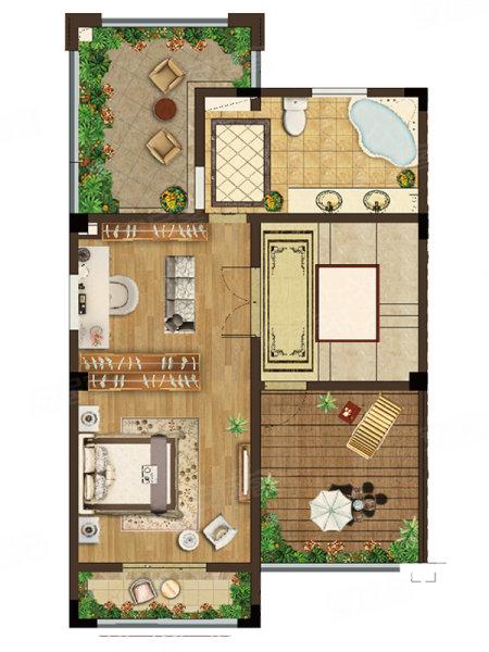 洛城紫園98平戶型,洛城紫園別墅約98.00平米戶型圖